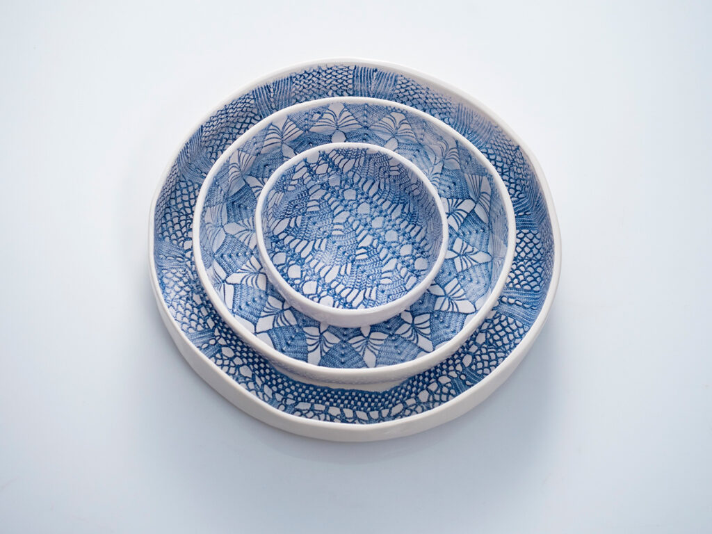 nest of round serving plates
